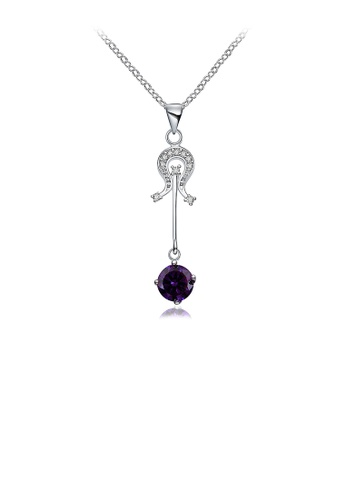 Glamorousky purple Simple Violin Pendant with Purple Austrian Element Crystal and Necklace ABDA2ACC6DECF8GS_1