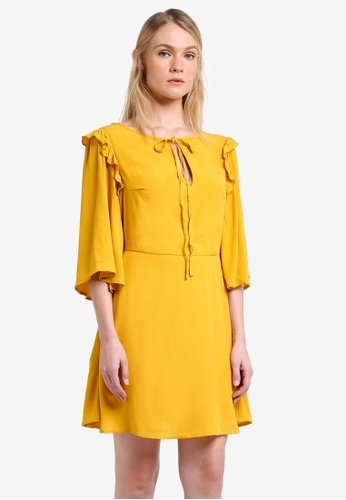 Mango yellow Flared Sleeves Dress MA193AA0RMJZMY_1