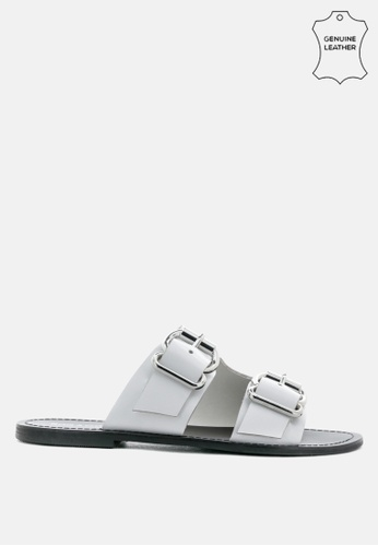 RAG & CO white Leather Flat Sandal with Buckle Straps F88E4SHFF269F4GS_1