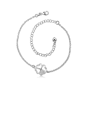 Glamorousky white Fashion Simple Four-leafed Clover Anklet with Austrian Element Crystal E25C6AC7C4E105GS_1