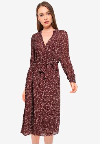 JACQUELINE DE YONG red Viola Long Sleeve Above Calf Shirt Dress 322CAAA1E8424FGS_1