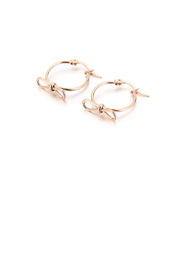 Glamorousky silver Fashion Simple Plated Rose Gold Ribbon Geometric Circle 316L Stainless Steel Earrings 2C881ACC48BDC1GS_1