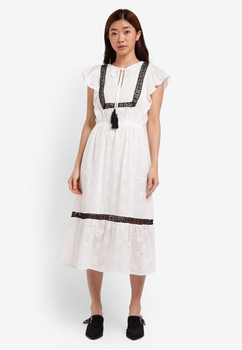 ZALORA white Frill Edge Midi Dress 2FE80AA04E969CGS_1