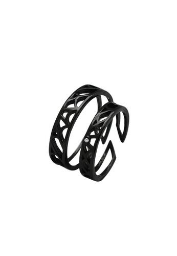 LYCKA 黑色 LDR9133 S925純銀 個性鏤空戒指 6B362ACB35958CGS_1