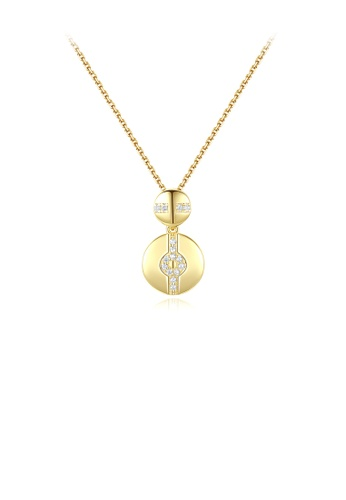 Glamorousky white 925 Sterling Silver Plated Gold Fashion Simple Geometric Double Round Pendant with Cubic Zirconia and Necklace 69902ACD78D44CGS_1