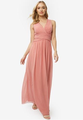 Little Mistress pink Rose Plunge Maxi Dress D9661AAECC9EE2GS_1