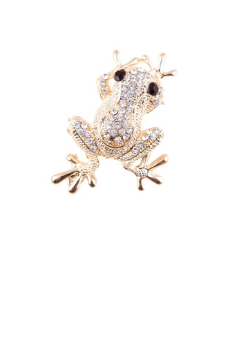Glamorousky white Fashion Personality Plated Gold Frog Brooch with Cubic Zirconia 7B464ACDC04992GS_1