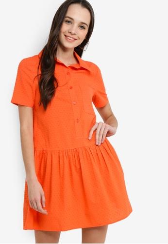 Something Borrowed 橘色 短袖襯衫洋裝 774F7AAD26AB13GS_1