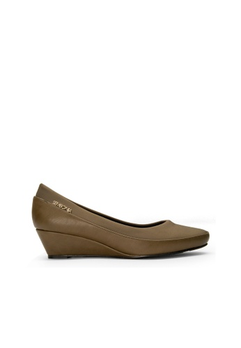 SEMBONIA brown SEMBONIA Synthetic Leather Court Shoe (Khaki) FC63ASHB67254AGS_1