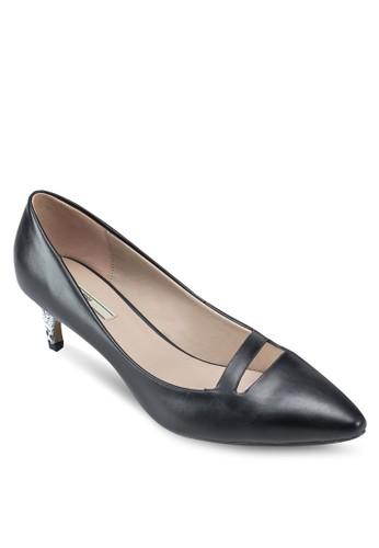 鏤空尖頭蛇紋esprit outlet hk低跟鞋, 女鞋, 鞋
