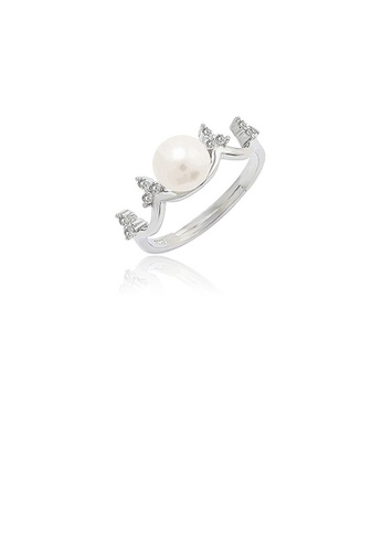 Glamorousky white 925 Sterling Silver Fashion Simple Crown Freshwater Pearl Adjustable Ring with Cubic Zirconia 4321BAC2D25A43GS_1
