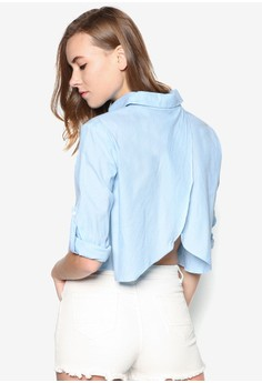 Wrap Back Crop Shirt