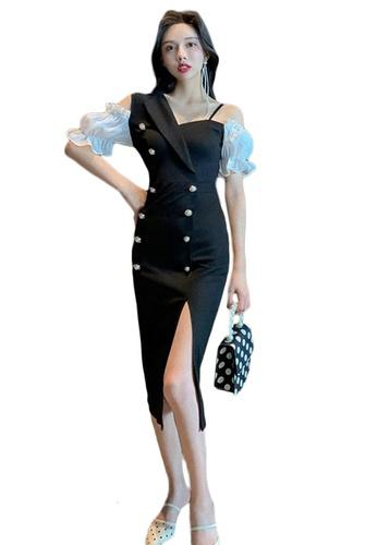 Sunnydaysweety black Hepburn Style Split Hem Slim Fit One Piece Dress A21022248 E48EFAA3616EE3GS_1