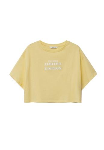 MANGO KIDS yellow Message Crop T-Shirt 6FEC6KA557E684GS_1