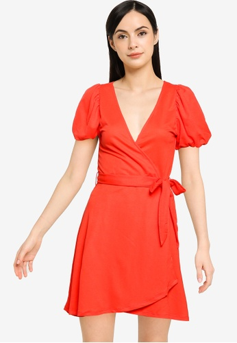 Springfield red Short Sustainable Viscose Dress 79DE1AA3BA84EDGS_1