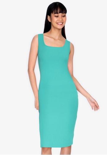 ZALORA BASICS blue Square Neck Ribbed Dress with Slit 370ADAAA7BC525GS_1