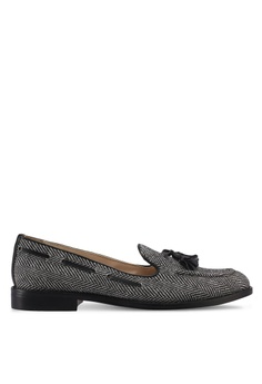 ZALORA grey Herringbone Detail Loafers 2C6EDSH8B7DF78GS_1