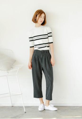 Pesprit 京站etina 條紋闊管長褲, 韓系時尚, 梳妝
