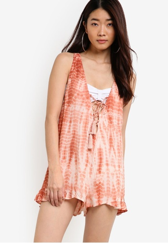 TOPSHOP orange Tie Dye Lace Up Playsuit TO412AA00YOPMY_1