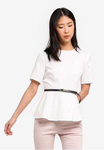 ZALORA BASICS white Basic Workwear Peplum Top With Belt 09F5EAA460324FGS_1