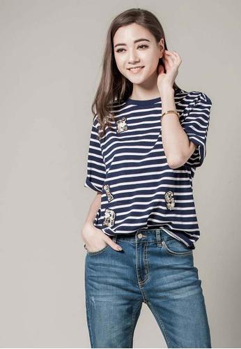 H:CONNECT white and blue Fun Badge Striped T- Shirt 8E902AA16619D3GS_1