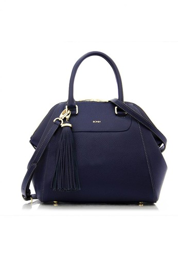 Bonia Navy Guilietta Satchel With Dual Handle Strap M