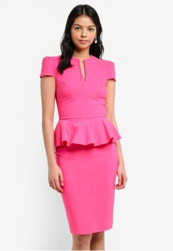 Goddiva pink Deep V Peplum Dress E2263AAA410DD2GS_1
