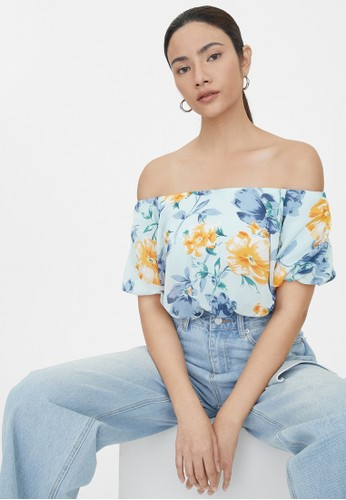 Pomelo blue Puffed Floral Off Shoulder Crop Top - Blue E0C75AA3BFA121GS_1