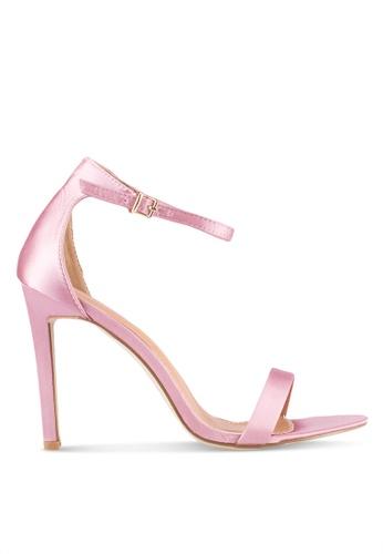 Public Desire pink Angel Champagne Satin Heels PU378SH0SSIGMY_1