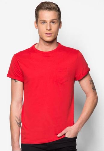 口袋捲zalora 泳衣袖TEE, 服飾, T恤