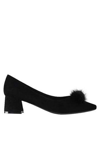 Twenty Eight Shoes black Fur Bow Block Heel 999-31 8C3A5SH354E5E9GS_1