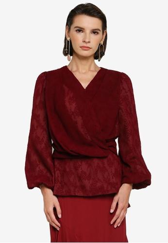 Zalia 紅色 Textured Drape Wrap Top 9D7D0AA0C1487BGS_1