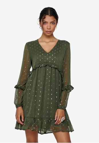 JACQUELINE DE YONG green Shimmer Woven Dress 30F6BAAC82B567GS_1