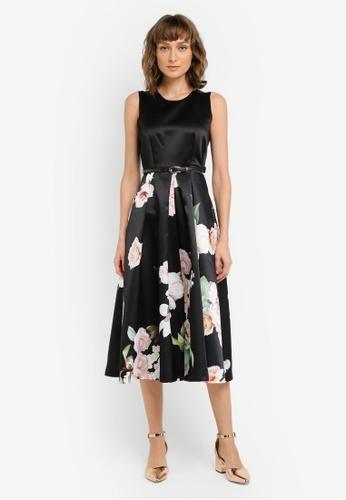 CLOSET black Gold Lined Satin Dress CL919AA0SNXFMY_1