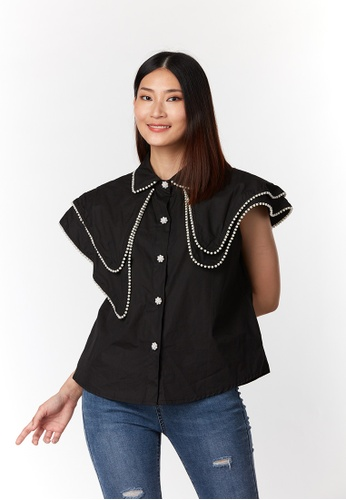 What To Wear black Double Layer Cape with Pearl Decorative Shirt in Black 57B43AA19B563BGS_1