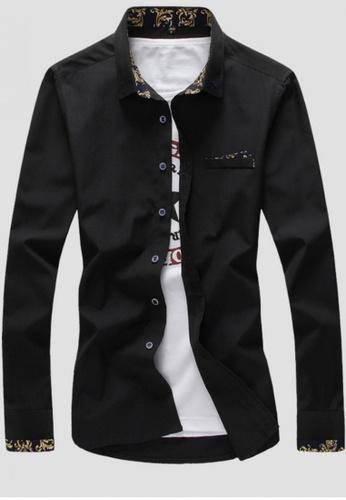 Trendyshop black Printed Slim Casual Shirt TR353AA0FG2LSG_1