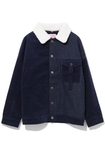 b+ab navy Sherpa collar patchwork denim jacket 29BB2AA359B79FGS_1