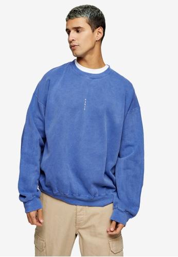 Topman blue Blue Vertical Paris Sweatshirt ED5FEAA9C50610GS_1