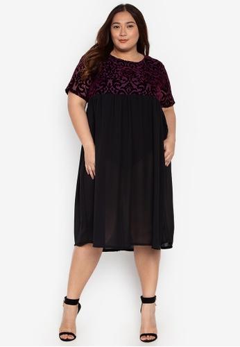 9ecd07f2f76 Maxine purple Plus Size Dress Short Sleeves Velvet Mesh 770F2AA8E32061GS 1