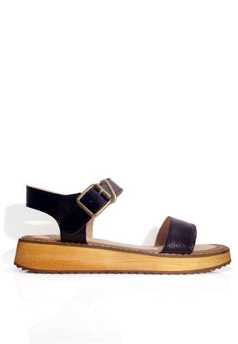 Twenty Eight Shoes 黑色 真皮一字帶厚底涼鞋 VS6662 EF5F3SH76769C8GS_1