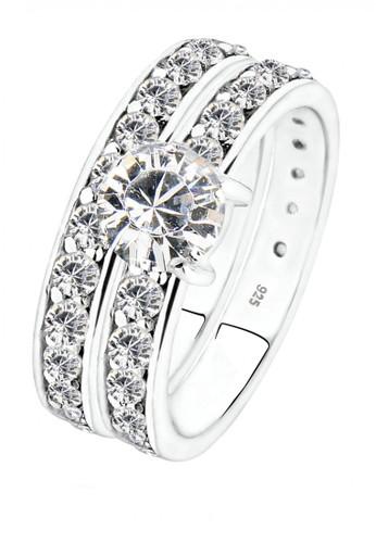 Elli Germany white Perhiasan Wanita Perak Asli - Silver Cincin Glamour Crystal F6D18AC42D4738GS_1