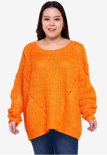 Junarose orange Plus Size Nalika Long Sleeves Knit Sweater 703CEAAD2C1C01GS_1
