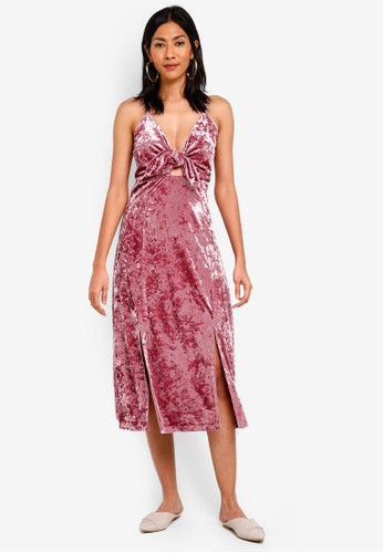 Glamorous pink Front Tie Velvet Midi Dress A5A11AAADF101AGS_1