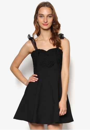 透視緞帶蝴蝶結幾代蕾絲修身洋裝, 服esprit 工作飾, 洋裝