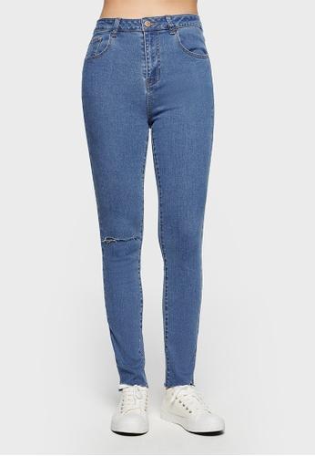 6IXTY8IGHT blue 6IXTY8IGHT MAIDSYM Pants Fashion Women High Waist Long Skinny Ripped Hole Jeans PN09342 ED827AA3060573GS_1