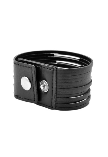 Elfi Stainless Steel Button Fashion Leather Bracelet LB15