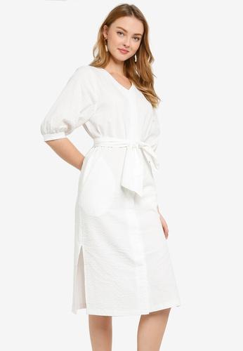 ZALORA WORK white Button Down Boxy Dress F0E13AACF8BA42GS_1
