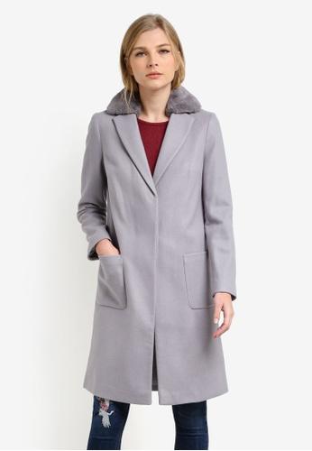 Dorothy Perkins grey Grey Faux Fur Collar Coat DO816AA0S2JXMY_1