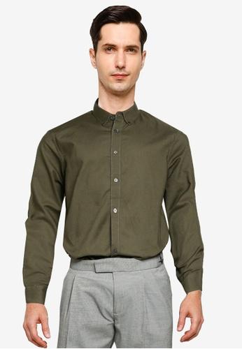 Burton Menswear London green Khaki Long Sleeve Oxford Shirt 2A158AA33C4895GS_1
