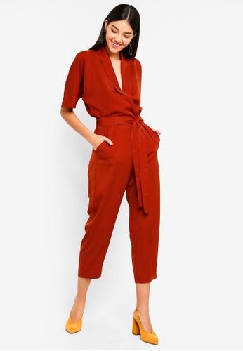 ZALORA orange Kimono Sleeves Wrap Jumpsuit 010BCAA91EC3E4GS_1